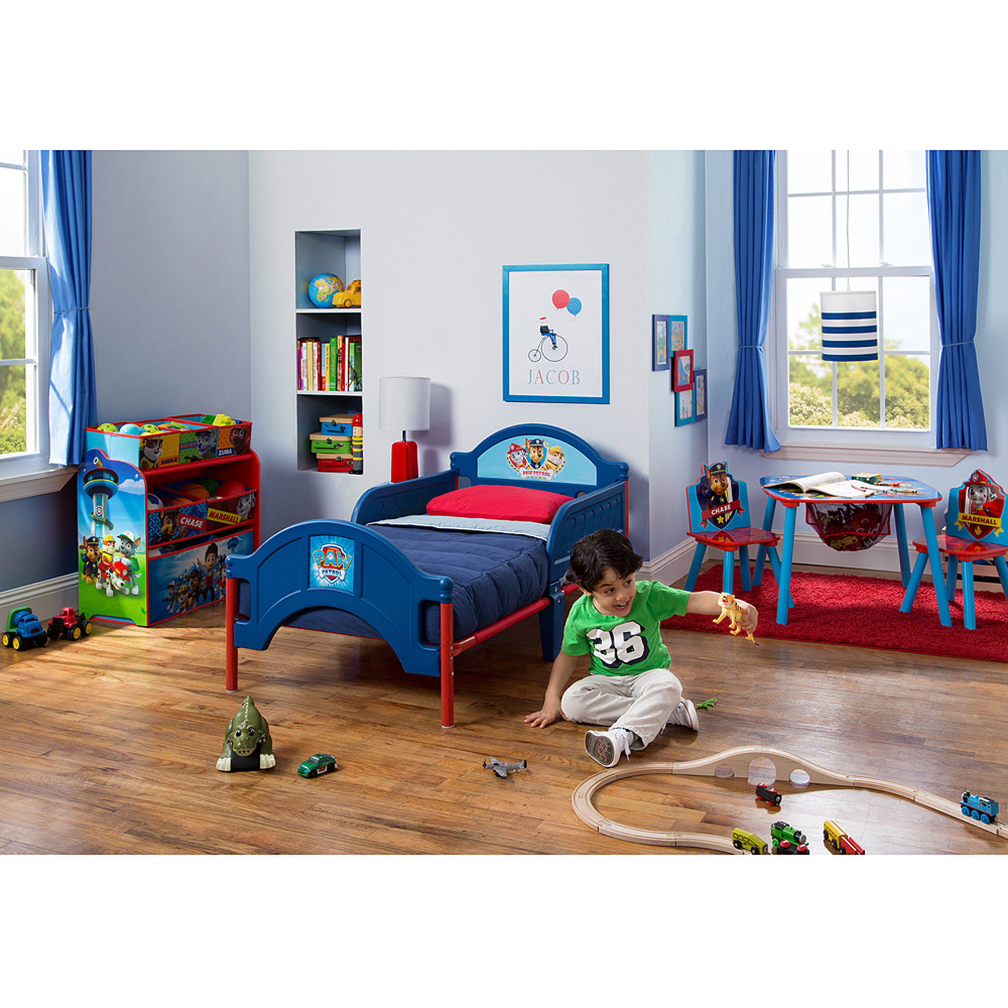 nick jr. paw patrol bedroom set with bonus toy organizer - walmart