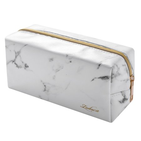 10 Pack Gold Makeup Brush Set with White Marble Patterned Cosmetic Bag by - Bat Makeup