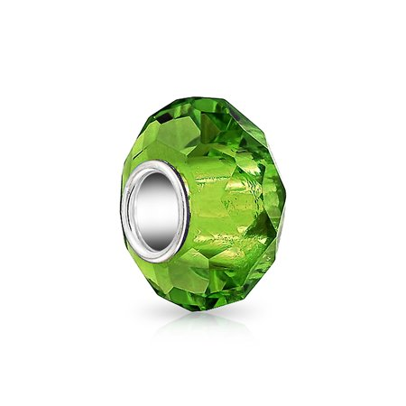 Solid Lime Green Faceted Murano Glass 925 Sterling Silver Spacer Bead Fits European Charm Bracelet For Women For Teen