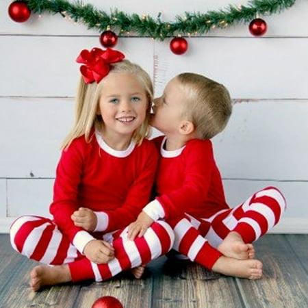 2PCS Toddler Baby Kids Boy Girls Tops Pants Xmas Sleepwear Nightwear Pajamas - Christmas Girls Pajamas