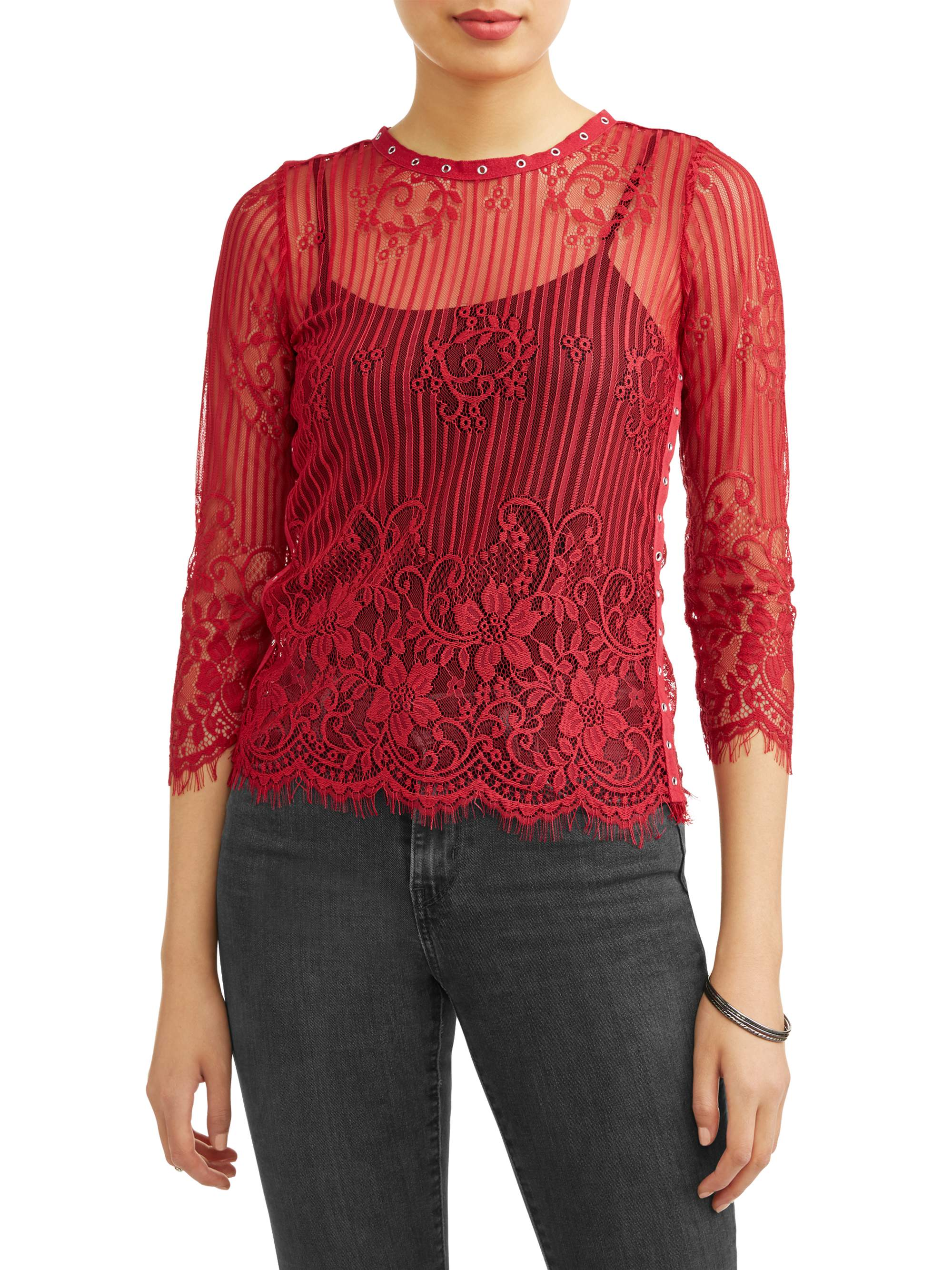 Juniors' All Over Lace Long Sleeve Blouse