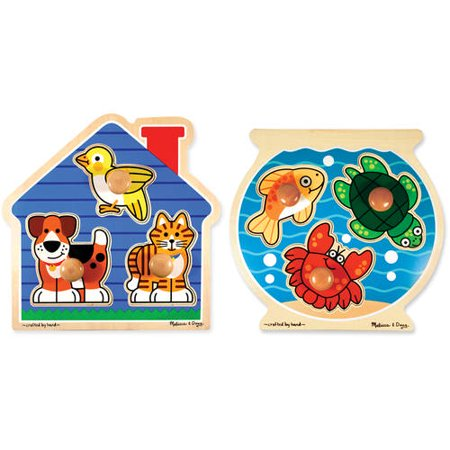 Melissa & Doug Animals Jumbo Knob Wooden Puzzles Set - Fish and