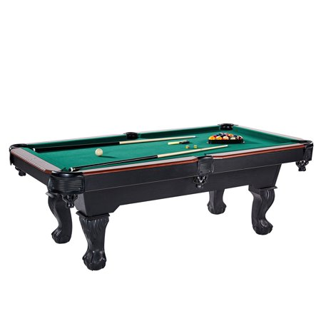 Lancaster 90 Inch Full Size Green Pool Table w/ Leather Pockets, Cues, and Chalk