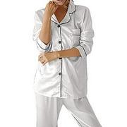 suanret Ladies Satin Silk Pyjama Set Silky Summer Lounge wear Pajamas long sleeve pjs