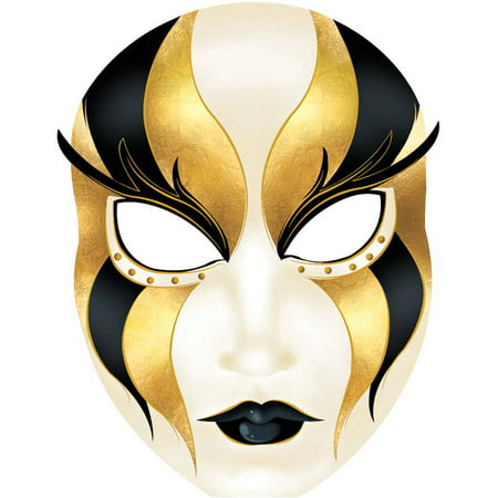 Black and Gold Venetian Masquerade Mask Standee, 4'11
