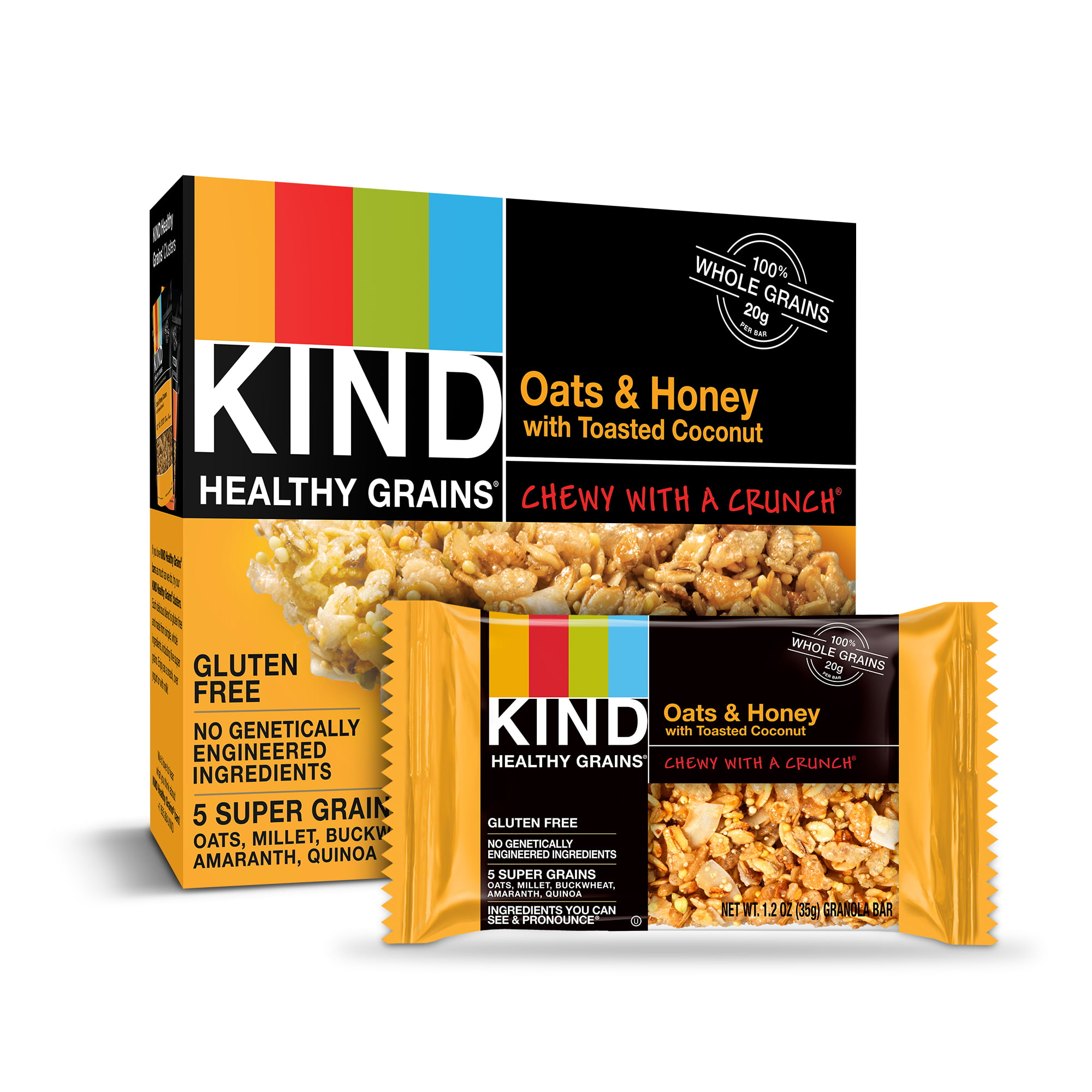 (6 Pack) KIND Healthy Grain Bars, Oats & Honey with Toasted Coconut Gluten Free Granola Bars, 5 Ct
