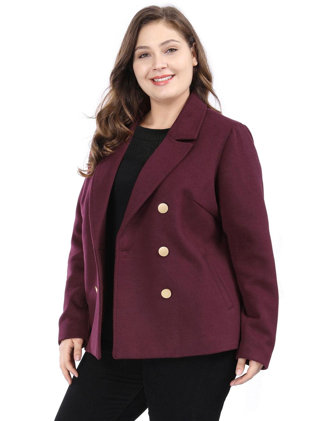 cfeacab3bf1 Unique Bargains - Women s Plus Size Notched Lapel Winter Peacoat Double  Breasted Notched Lapel Coat Red 3X - Walmart.com