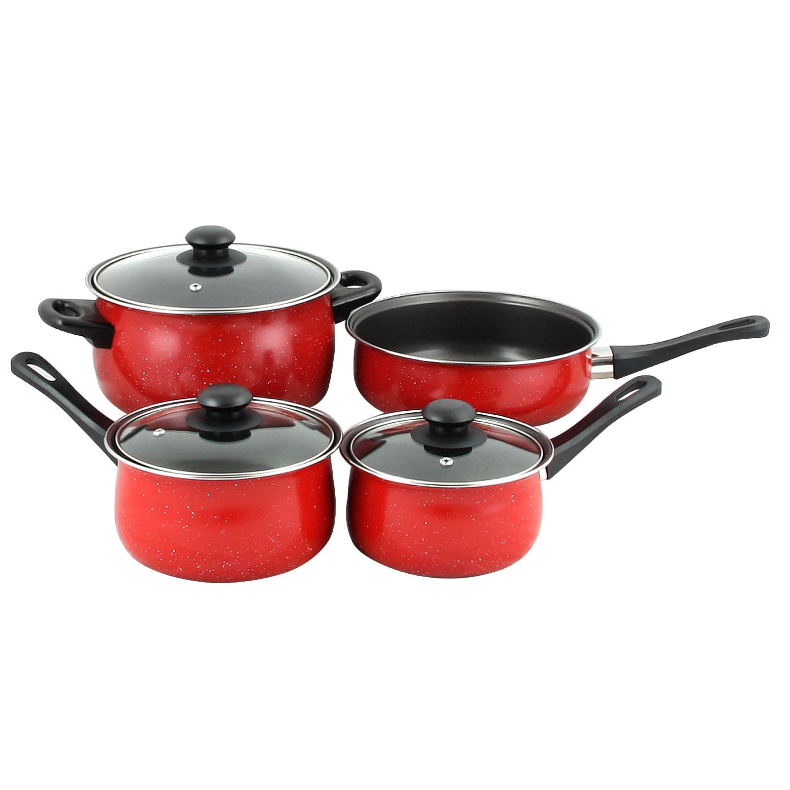 Gibson Home Casselman 7 piece Cookware Set in Red with Bakelite Snow Handle