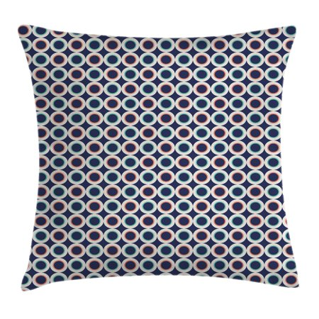 Geometric Throw Pillow Cushion Cover, White Bold Circles Vibrant Colors Modern Tile Design Pattern, Decorative Square Accent Pillow Case, 18 X 18 Inches, Mint Green Orange Dark Blue, by Ambesonne - Mint Green Blue