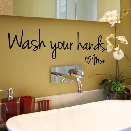 Mom Wall - Wash Your Hands Mom Home Decor Wall Sticker Decal Bedroom Vinyl Art Mural