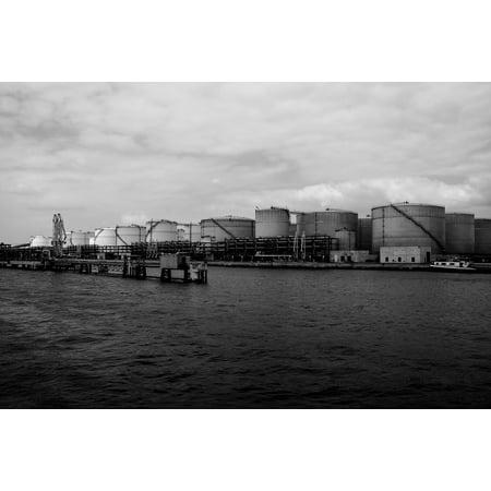 LAMINATED POSTER Water Ship Oil Oil Tank Port Dock Shipping Lake Poster Print 24 x 36