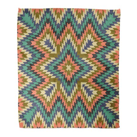 HATIART Flannel Throw Blanket Abstract Tribal Pattern Geometrical in Ethno Syle Ethnic Hipster Soft for Bed Sofa and Couch 50x60 Inches - image 1 de 1