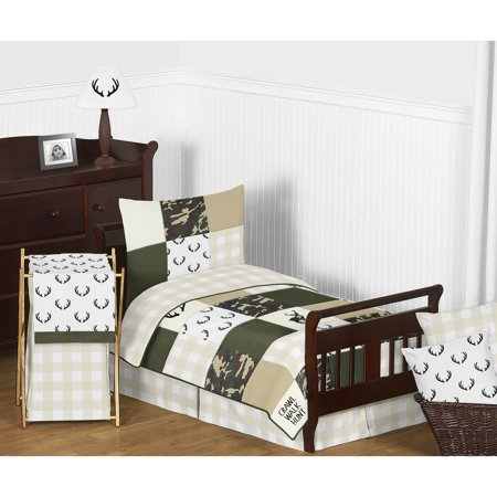 Sweet Jojo Designs  Green Beige Deer Buffalo Plaid Check Woodland Camo Camouflage Collection Boy 5p Toddler Comforter