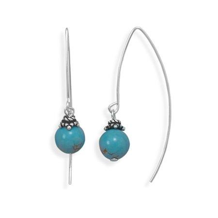 - Long Curved Wire Earrings with Reconstituted Turquoise Bead Drop Sterling Silver