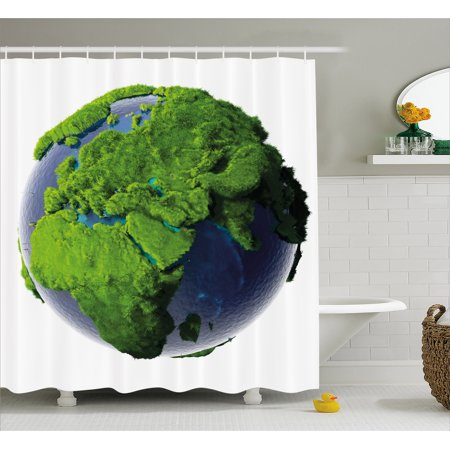Earth Shower Curtain  World Covered With Lush Green Forest Grass And Blue Waters Eco Nature Concept  Fabric Bathroom Set With Hooks  69W X 75L Inches Long  Green Violet Blue  By Ambesonne