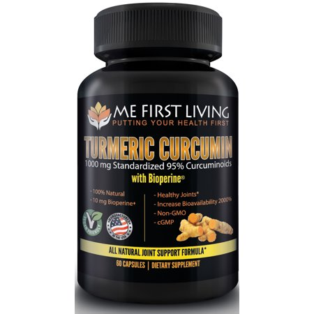 Turmeric Curcumin with Bioperine 1000mg of 95% Curcuminoid With Black Pepper as Bioperine 10mg, 19x More Potent Than Others, Increased Bioavailability, Vegan, 60 Capsules by Me First