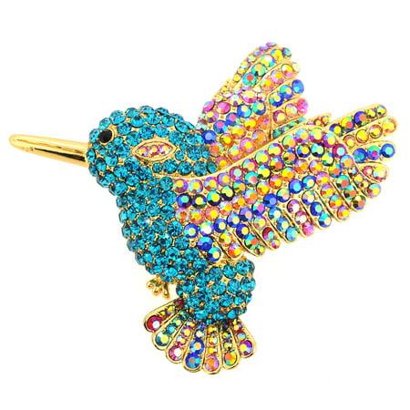 Little Bird Pin - Multicolor Crystal Hummingbird Pin Brooch And Pendant