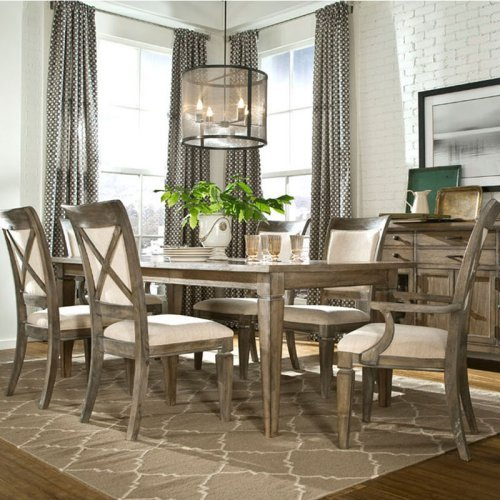 Legacy Brownstone Village 5 Piece Dining Table Set with Upholstered Chairs