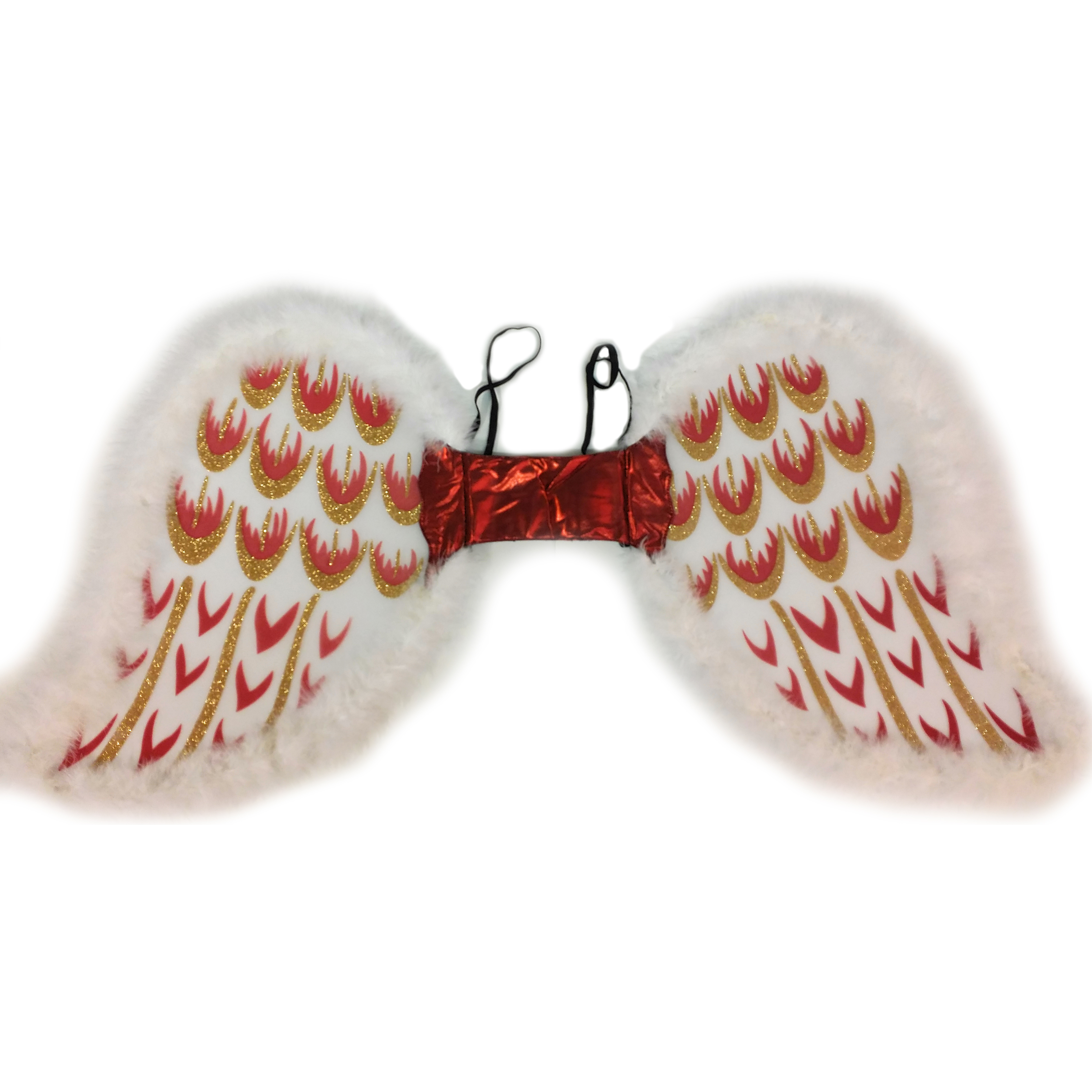 """Golden Glitter Designs Angel Wings, White Gold Red, One Size 17"""""""