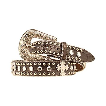 1.5 in. Womens Faux Leather Croc Print Studded Cross Belt, Black - Large ()