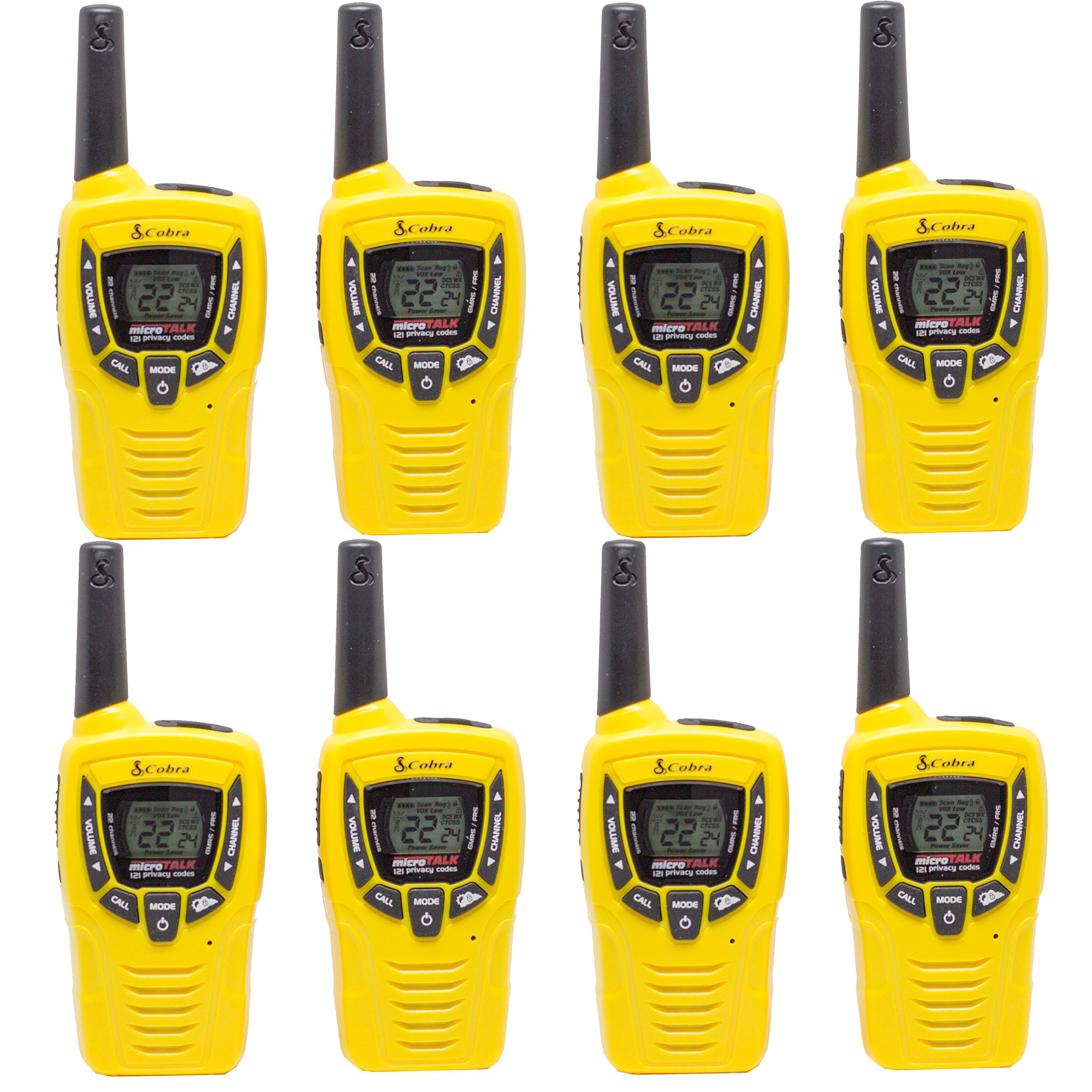 Cobra 23 Mile 22 Channel Walkie Talkie VOX NOAA Receiver Radios CX335 (4 Pairs)