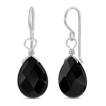 Synthetic Black Onyx - FRONAY Genuine Black Onyx Sterling Silver Drop Dangle Hook Earrings - Made in USA (onyx)