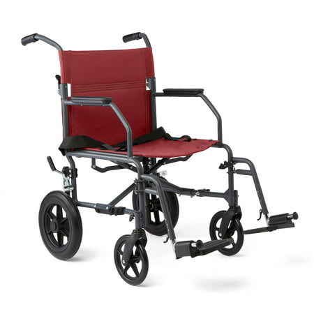 Medline Steel Transport Wheelchair with Microban Antimicrobial
