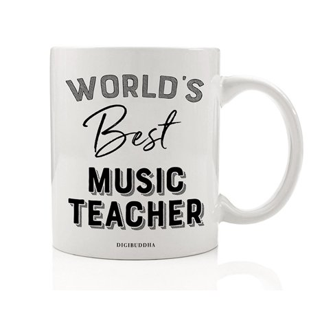 World's Best Music Teacher Coffee Mug Gift Idea Musical Education Teaching Students Choir Instruments Band Orchestra Christmas Holiday Birthday Present 11oz Ceramic Beverage Tea Cup Digibuddha DM0400