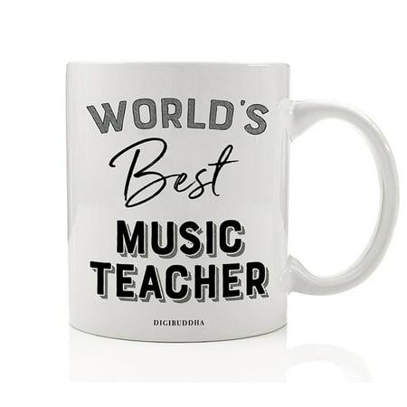 World's Best Music Teacher Coffee Mug Gift Idea Musical Education Teaching Students Choir Instruments Band Orchestra Christmas Holiday Birthday Present 11oz Ceramic Beverage Tea Cup Digibuddha