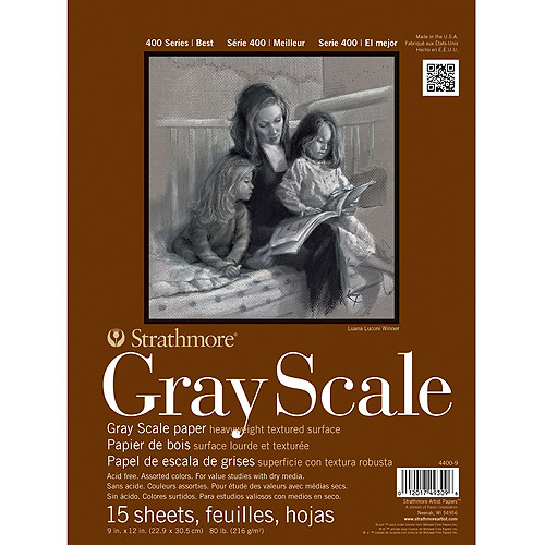 "Strathmore Assorted Gray Scale Paper Pad, 9"" x 12"", 80 lb 15 Sheets"