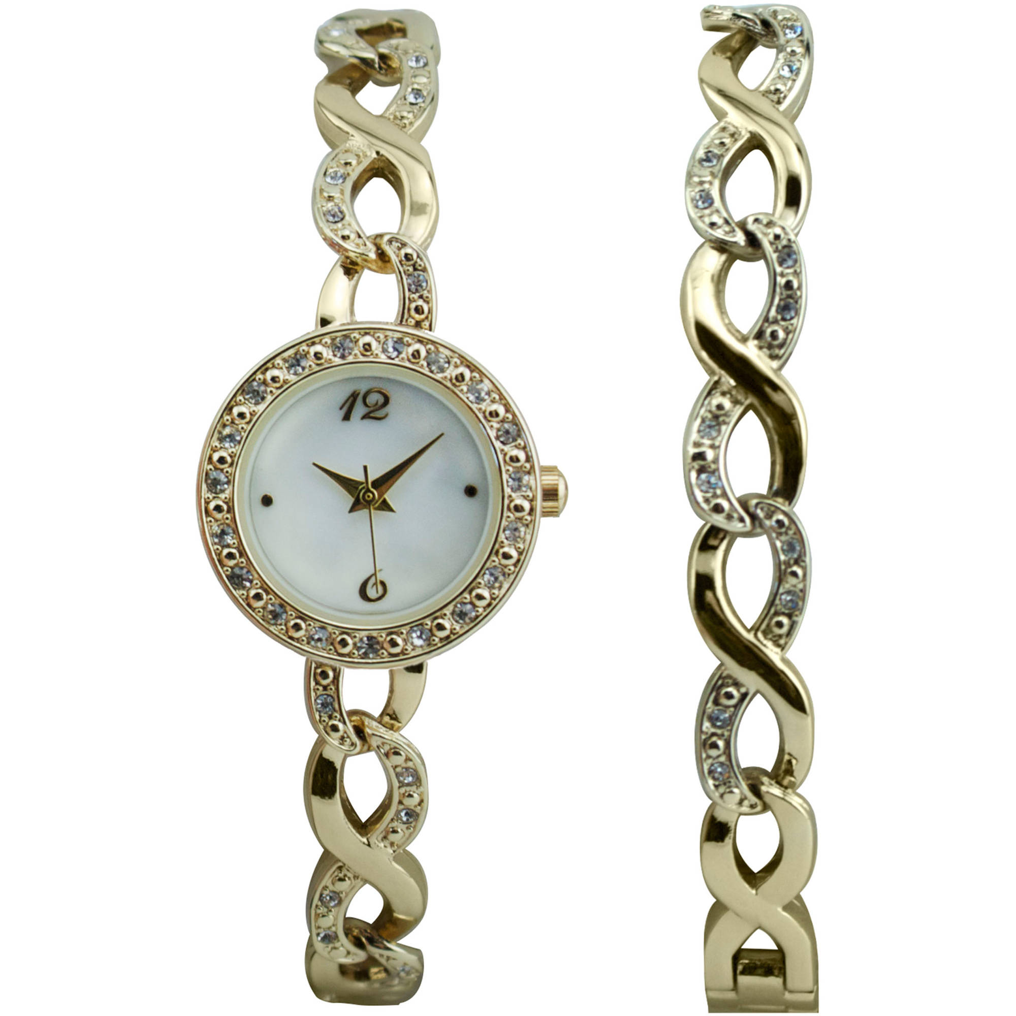 Women's Watch and Bracelet Gift Set, Gold-Tone
