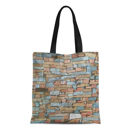 HATIART Canvas Tote Bag Beige Abstract Multi Color Brick Wall Brown Architecture Block Reusable Shoulder Grocery Shopping Bags Handbag - image 1 of 1