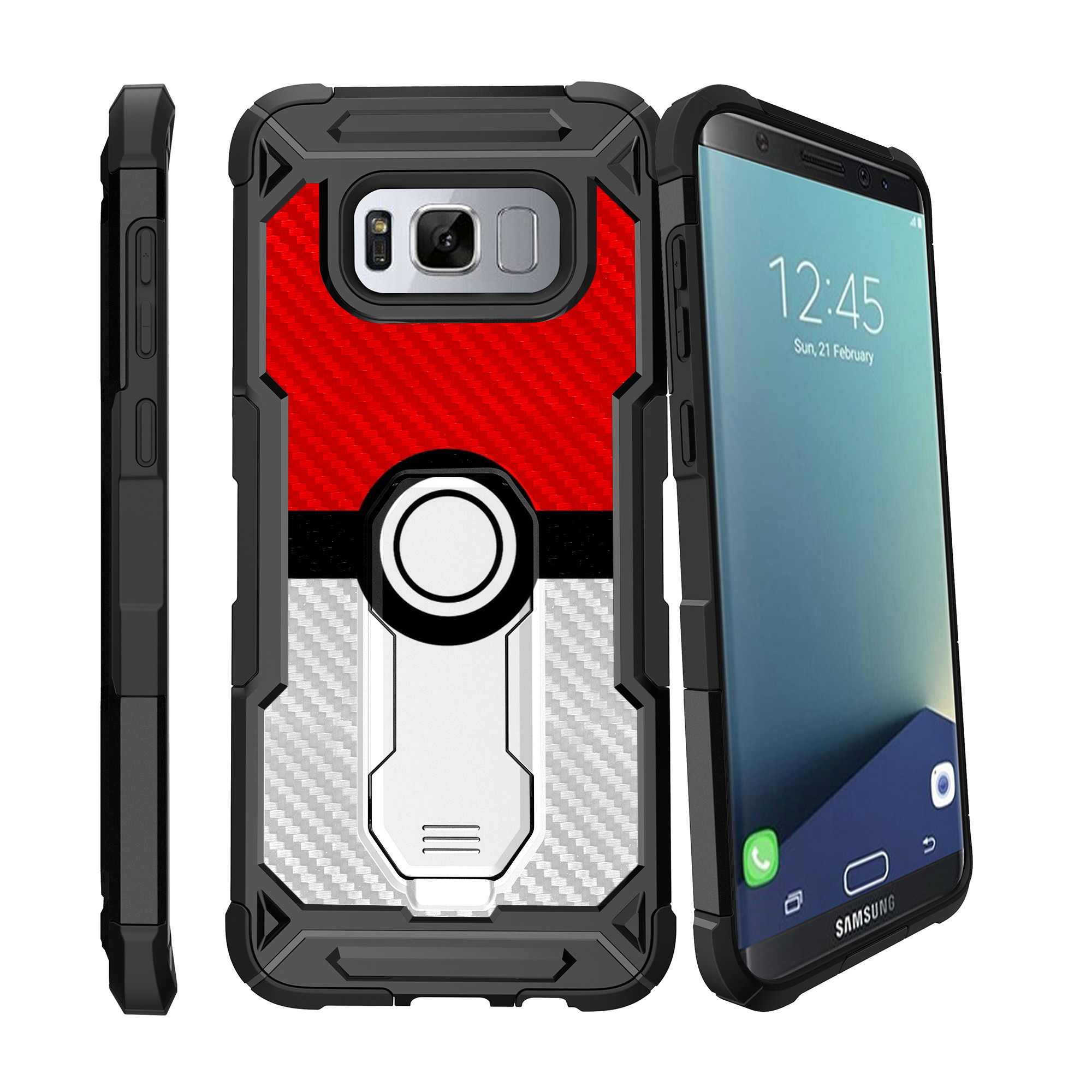Case for Samsung Galaxy S8 Plus Version [ UFO Defense Case ][Galaxy S8 PLUS SM-G955][Black Silicone] Carbon Fiber Texture Case with Holster + Stand Unique Collection
