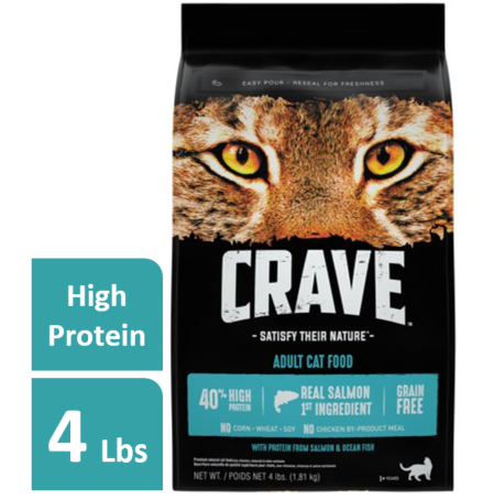 Crave Grain-Free With Protein From Salmon & Ocean Fish Dry Adult Cat Food, 4 lb