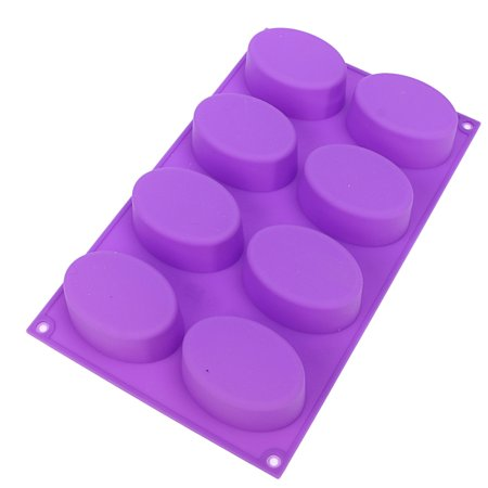 Meigar  8 Cavity Oval Silicone Cake Mold Pan ,Cylinder Silicone Mold for Chocolate Soap Cake  Pudding Cookie Making Food Grade