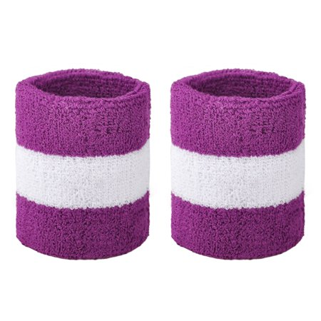 GOGO Athletic Wrist Sweatbands Pair Terry Cloth Wristband for Running Basketball Tennis-Purple/White