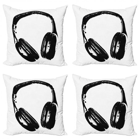 Music Throw Pillow Cushion Case Pack of 4, Grunge Headphones Realistic Illustration Vintage Effect Lifestyle Youth Fun, Modern Accent Double-Sided Print, 4 Sizes, Black Pale Grey, by Ambesonne