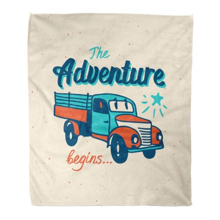 ASHLEIGH Throw Blanket Warm Cozy Print Flannel Old The Adventure Begins Vintage Truck Country Farm Comfortable Soft for Bed Sofa and Couch 50x60 Inches ()