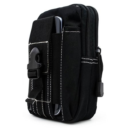 For LG Optimus G Pro E980 ~ XL Large Multipurpose Tactical Cover Smartphone Holster EDC Security Pack Carry Case Pouch Belt Waist Bag Gadget Money Pocket - Black (Smart Money Clip Lite)