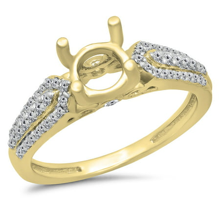 Dazzlingrock Collection 0.40 Carat (ctw) 14K White Diamond Ladies Split Shank Semi Mount Engagement Ring, Yellow Gold, Size 6