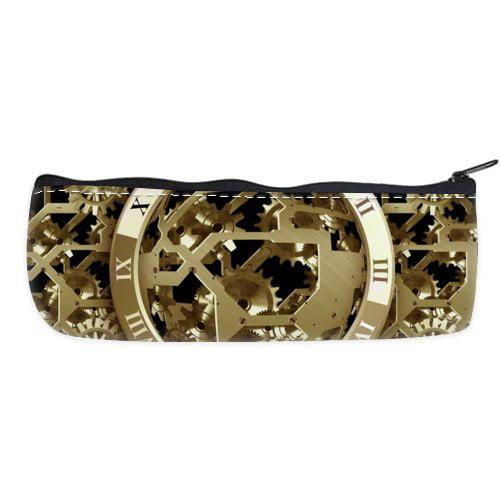POPCreation Gold Gears Run School Pencil Case Pencil Bag Zipper Organizer Bag