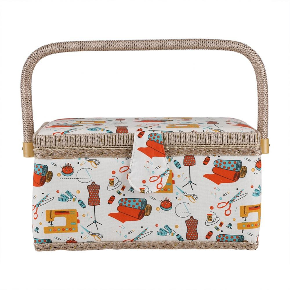 Craft Box,Storage Box with Handles Essentials, Sewing Basket Craft Box Household Sundry Storage Organizer with Handle, Fabric Floral Printed