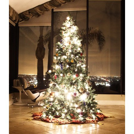 8 ft classic ever green artificial christmas tree pe pvc tips led lit light pine