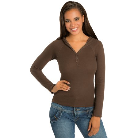 Flag Thermal Shirt - Sweet Vibes Junior Womens Stretch Dark Brown Thermal Snap Henley Top W Hood
