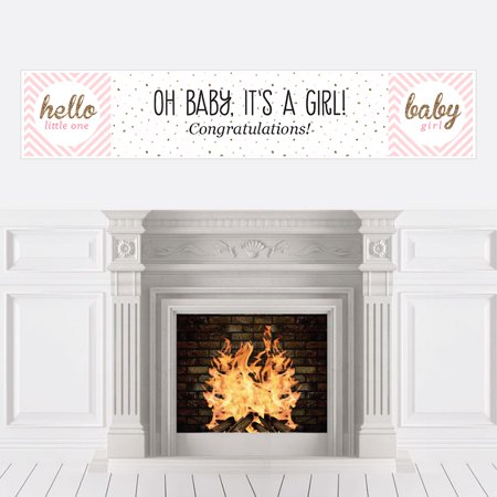 Hello Little One - Pink and Gold - Girl Baby Shower Decorations Party Banner