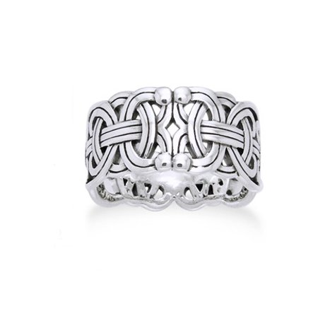 Viking Braided Wedding Band Borre Knot Norse Celtic 10mm Sterling Silver Ring (Braided Wedding Ring)
