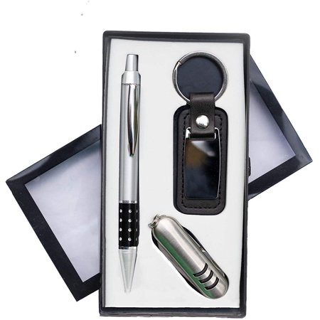 Luxury Ballpoint Pen Set with Swiss Style Pocket Knife & Engravable Keychain ACME CRATE gift pack - perfect for a Birthday, Promotion, Anniversary or Fathers/Mothers day present. Great for men & women
