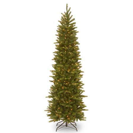 6.5 ft. Grand Fir Pencil Slim Tree with Clear Lights ()