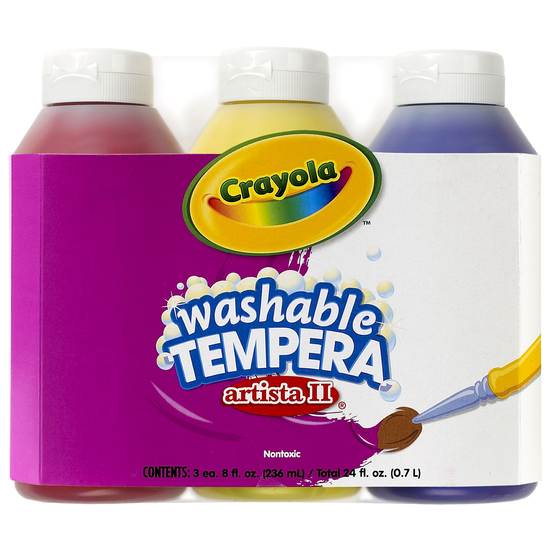 Crayola® Primary Colors Tempera Paint, Three 8 oz bottles per pack, Set of 4 packs