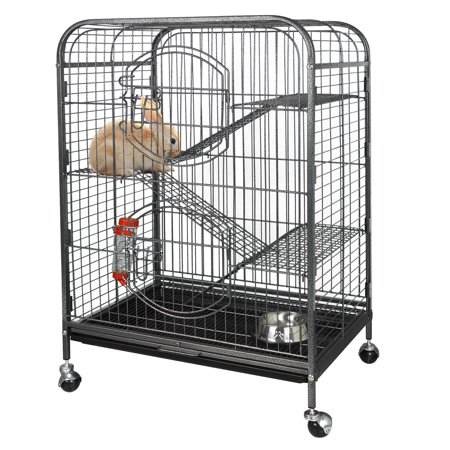 Zeny 37'' Ferret Cage Chinchilla Sugar Glider Guinea Pig Small Animal Cage - 4 Tiers - 3 Ladders - 2 Front Doors - Food Bowl - Water Bottle - Slide Out Trays - Swivel